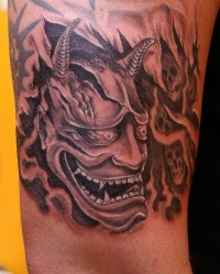 Demon and skulls tattoo by fpista