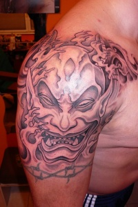 Demon in asian style tattoo on shoulder by fpista