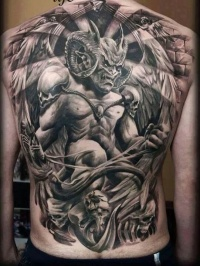 Demon large tattoo on back